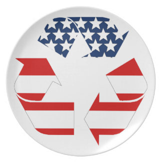 Recycling Symbol - Red White & Blue Plate