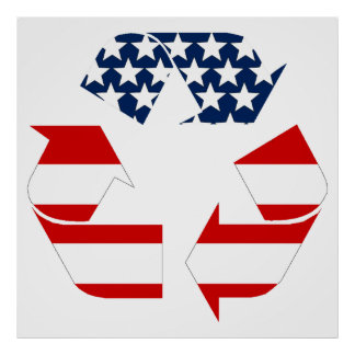Recycling Symbol - Red White & Blue Poster