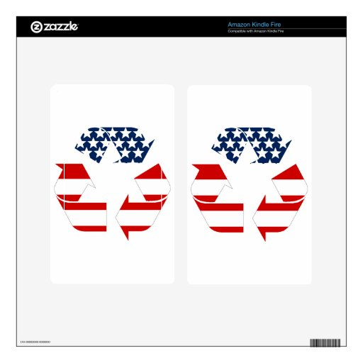 Recycling Symbol - Red White & Blue Skins For Kindle Fire
