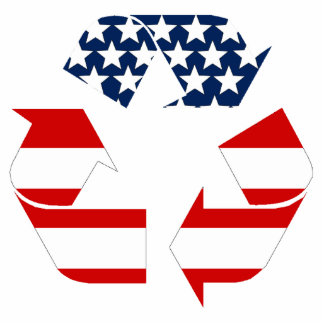 Recycling Symbol - Red White & Blue Statuette