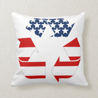 Recycling Symbol - Red White & Blue Throw Pillow