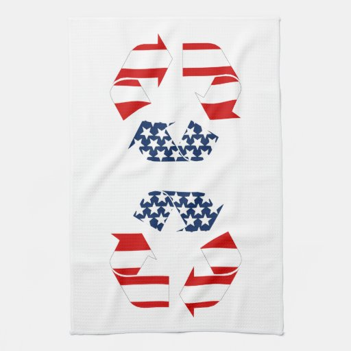 Recycling Symbol - Red White & Blue Towel