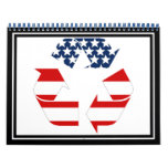 Recycling Symbol - Red White & Blue Wall Calendars