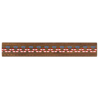 Recycling Symbol - Red White & Blue Walnut Ruler