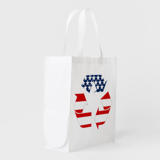 Recycling Symbol - Red White & Blue Reusable Grocery Bag