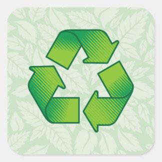 Recycling symbol square sticker