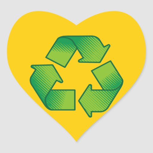 Recycling symbol stickers