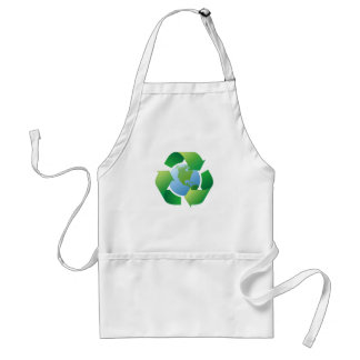 Recycling symbol surrounding planet earth adult apron