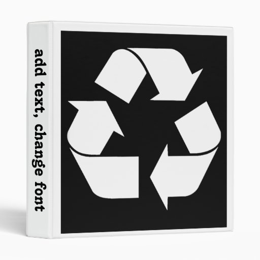Recycling Symbol - White (For Black Backgrounds) 3 Ring Binder