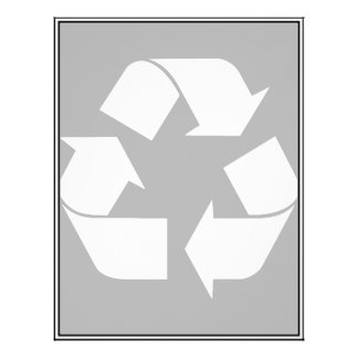 Recycling Symbol - White (For Black Backgrounds) Flyer