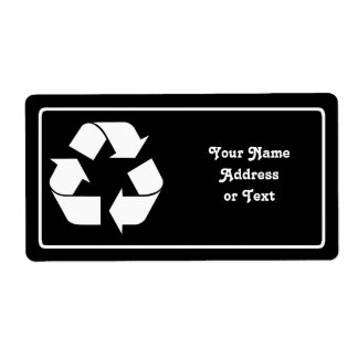 Recycling Symbol - White (For Black Backgrounds) Label