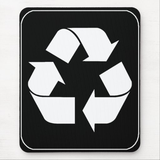 Recycling Symbol - White (For Black Backgrounds) Mouse Pad