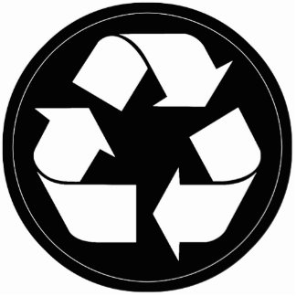 Recycling Symbol - White (For Black Backgrounds) Acrylic Cut Outs