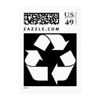 Recycling Symbol - White (For Black Backgrounds) Postage Stamp