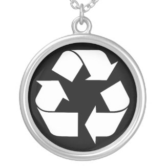Recycling Symbol - White (For Black Backgrounds) Round Pendant Necklace