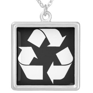 Recycling Symbol - White (For Black Backgrounds) Square Pendant Necklace