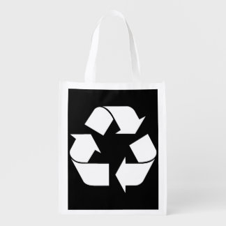 Recycling Symbol - White (For Black Backgrounds) Market Totes