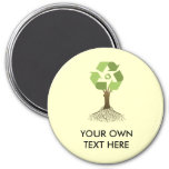 RECYCLING TREE 3 INCH ROUND MAGNET