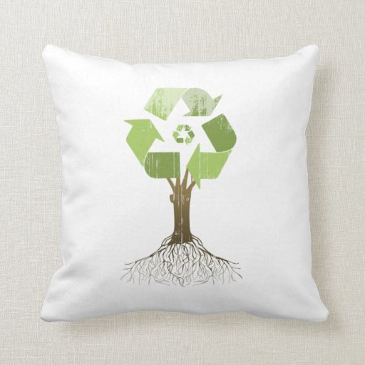 RECYCLING TREE Faded.png Throw Pillows