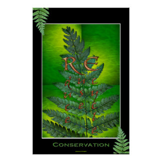 RECYLE, REUSE, REDUCE Environment Fern Art Poster