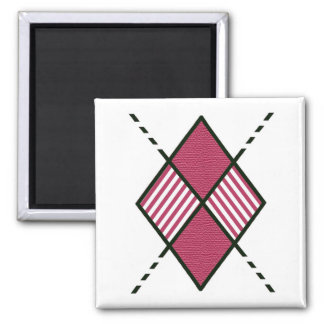 Red-04 Argyle Pattern 2 Inch Square Magnet