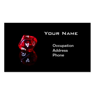 Red 10 sided rpg dice business card