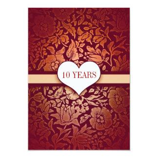 red 10 years wedding anniversary damask invitation