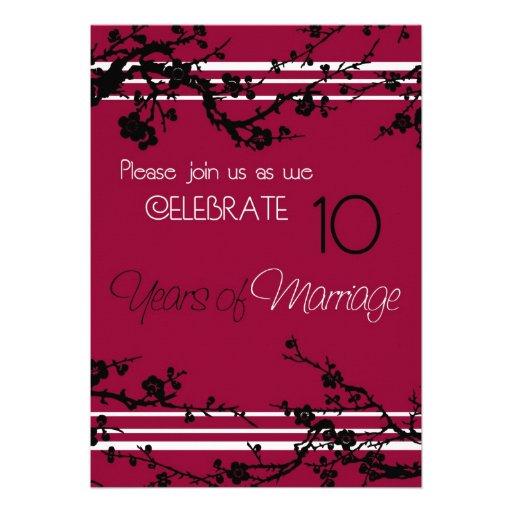 "Red 10th Wedding Anniversary Invitation Card 5"" X 7"