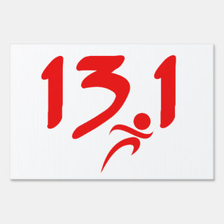 Red 13.1 half-marathon lawn sign