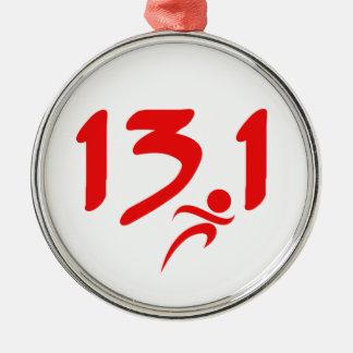 Red 13.1 half-marathon christmas tree ornaments