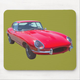 Red 1964 Jaguar XKE Antique Sports Car Mouse Pad
