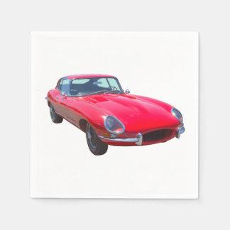 Red 1964 Jaguar XKE Antique Sports Car Napkin