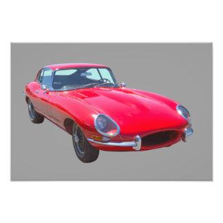 Red 1964 Jaguar XKE Antique Sports Car Photo Art