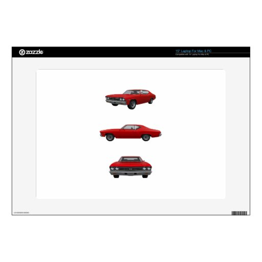 """Red 1968 Chevelle SS: 15"""" Laptop Decals"""