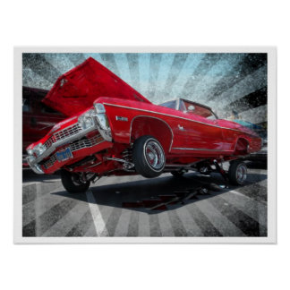 Red 1968 Chevrolet Impala Lowrider Poster