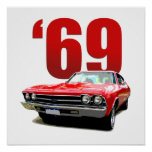 Red 1969 Chevelle coupe front view. Posters