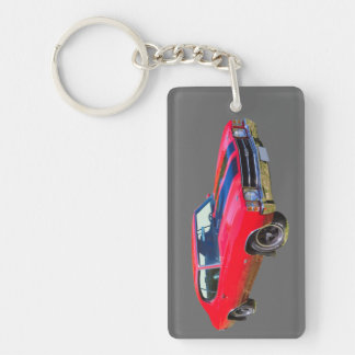 Red 1971 Chevrolet Chevelle SS Muscle Car Double-Sided Rectangular Acrylic Keychain
