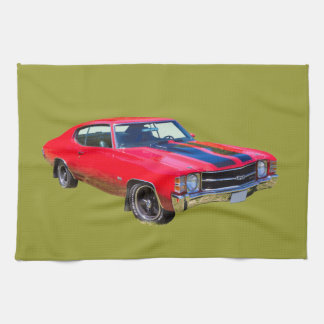Red 1971 Chevrolet Chevelle SS Muscle Car Hand Towel