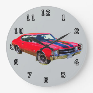 Red 1971 Chevrolet Chevelle SS Muscle Car Large Clock
