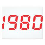 """red 1980 icon 4.25"""" x 5.5"""" invitation card"""