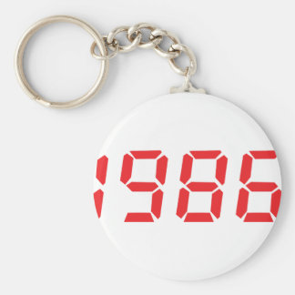 red 1986 icon basic round button keychain