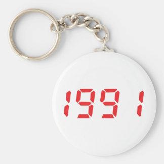 red 1991icon basic round button keychain