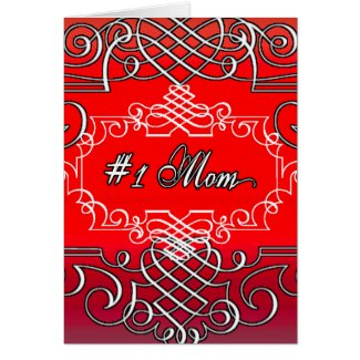 Red #1 MOM Mother's day typography gift