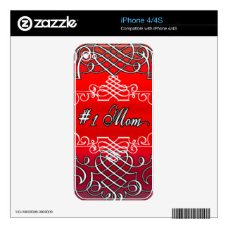 Red #1 MOM Mother's day typography gift iPhone 4 Decal