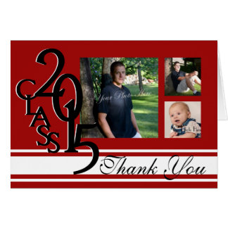 Red 2015 Graduation Thank You Photo Stationery Note Card