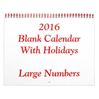 Red 2016 Blank Calendar With Large Numbers