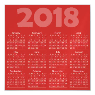 Red 2018 Calendar Square Magnetic Card