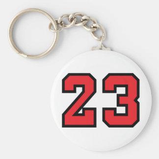 Red 23 basic round button keychain