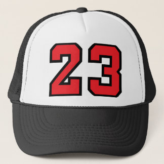 Red 23 trucker hat