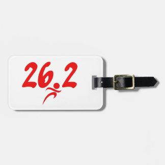 Red 26.2 marathon bag tag